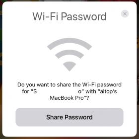 Şifre paylaşımı izin ekranı